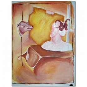 Zonder titel (sepia) - schildering